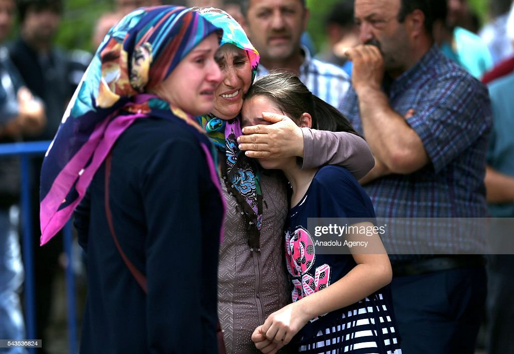 Relatives of the ones, who were wounded in the terror attack at Ataturk International Airport, cry outside the Forensic Medicine Institution in Istanbul, Turkey on June 29, 2016. At least 41 victims and three suicide bombers were killed while scores of others were injured in a terror attack on Istanbuls Ataturk International Airport.