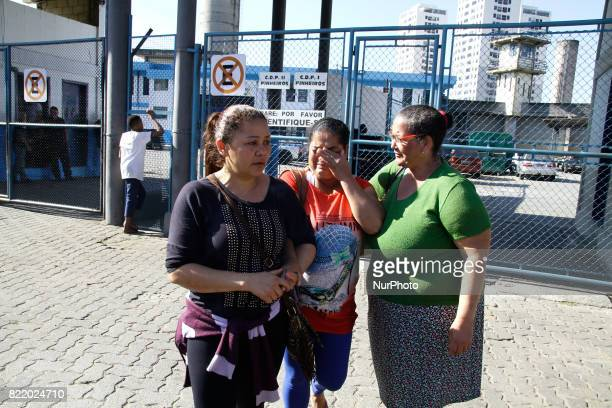 Relatives of the prisoners await news during a rebellion with fire on mattresses at the Provisional Detention Center of Pinheiros in the West Zone of...
