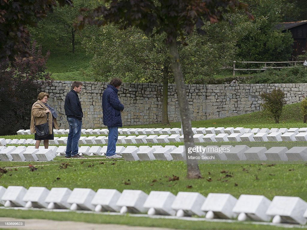 Relatives of the victims pray inside the Cemetery of the Vajont on the 50th anniversary on October 9, 2013 in Longarone, Italy. The Vajont disaster occurred on October 9, 1963 and claimed 2000 lives, making it the worst landslide in European history.