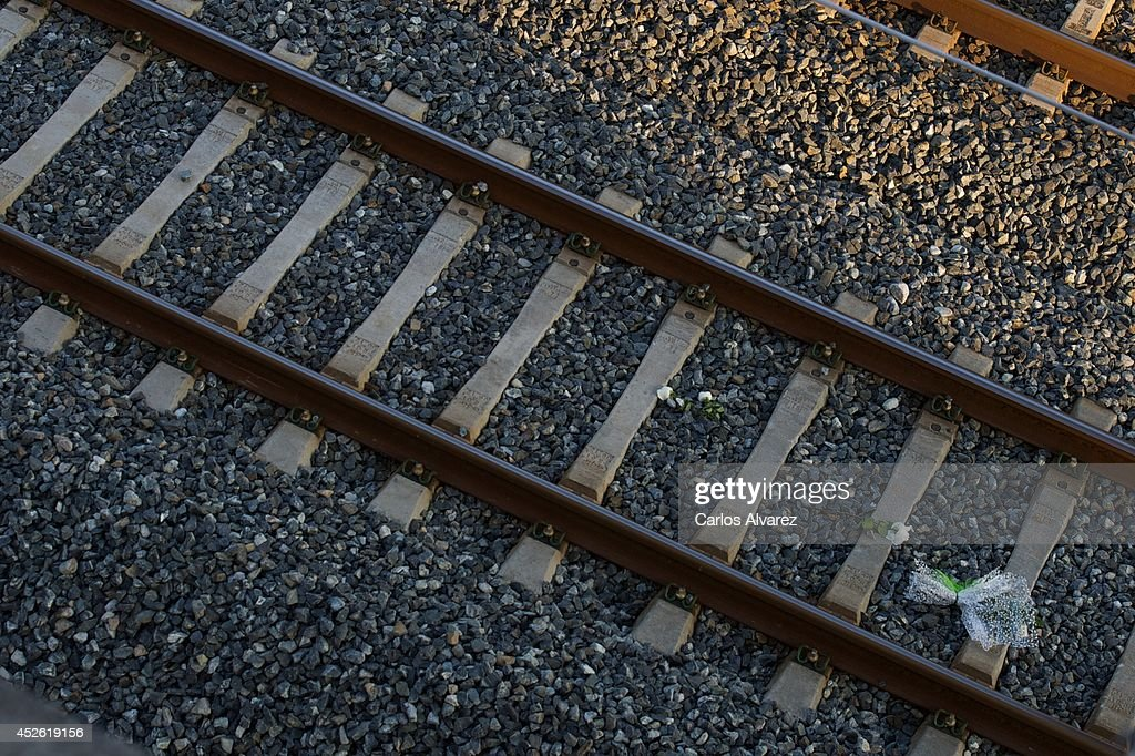 Relatives of the victims thrown flowers to the train tracks at the crash site as tribute for victims of high speed train accident on July 24 2014 in...