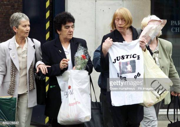 Relatives of victims of the Hillsborough disaster arrive at Leeds Crown Court where a jury is still considering verdicts for former Chief...