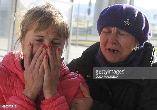 Relatives react at Pulkovo international airport outside Saint Petersburg after a Russian plane with 224 people on board crashed in a mountainous...
