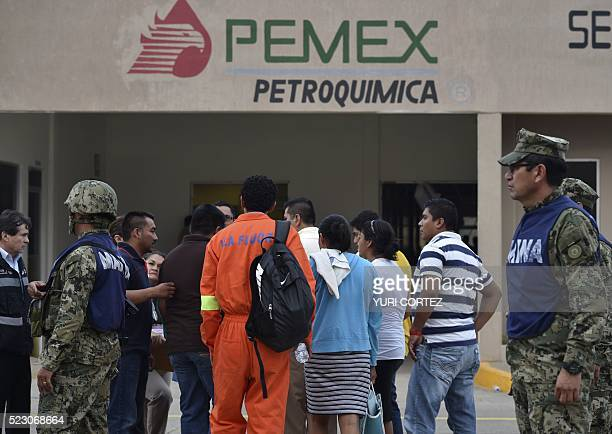 Relatives wait for news of their loves ones at the staterun oil giant Pemex's Pajaritos petrochemical plant in Coatzacoalcos Veracruz State Mexico a...
