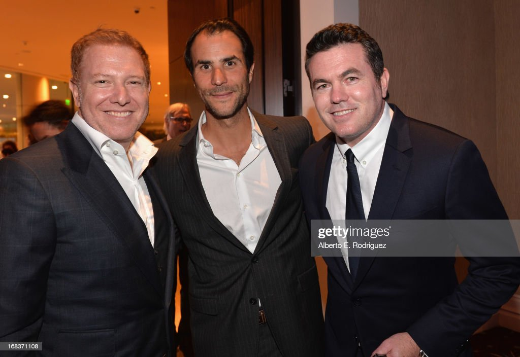Relativity Media CEO <a gi-track='captionPersonalityLinkClicked' href=/galleries/search?phrase=Ryan+Kavanaugh&family=editorial&specificpeople=4275646 ng-click='$event.stopPropagation()'>Ryan Kavanaugh</a>, Electus Founder & CEO Ben Silverman and Relativity Media President of Worldwide Production <a gi-track='captionPersonalityLinkClicked' href=/galleries/search?phrase=Tucker+Tooley&family=editorial&specificpeople=967262 ng-click='$event.stopPropagation()'>Tucker Tooley</a> attend the Anti-Defamation League's Centennial Entertainment Industry Award Dinner at The Beverly Hilton Hotel on May 8, 2013 in Beverly Hills, California.