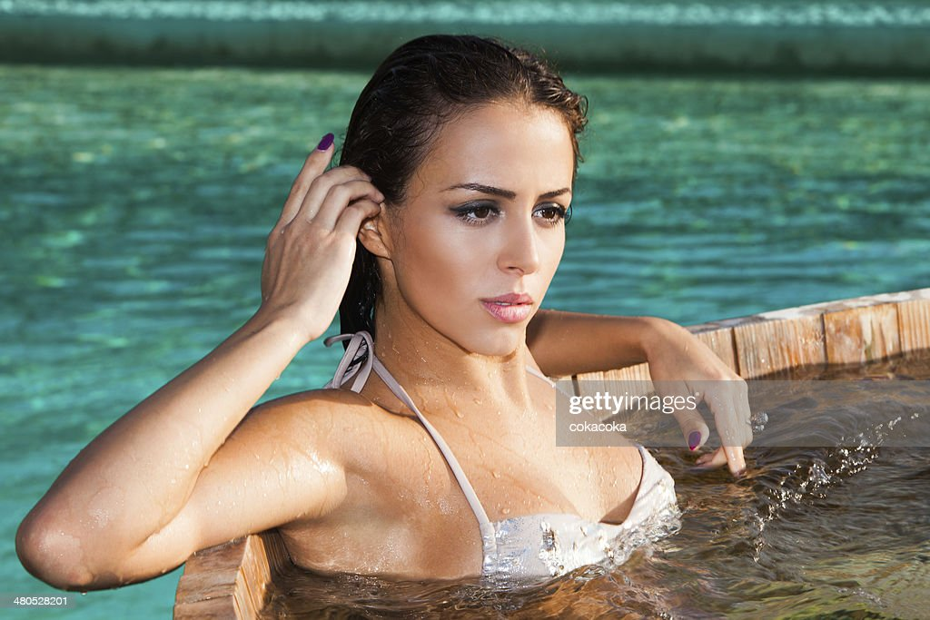 relax in jacuzzi : Stock Photo
