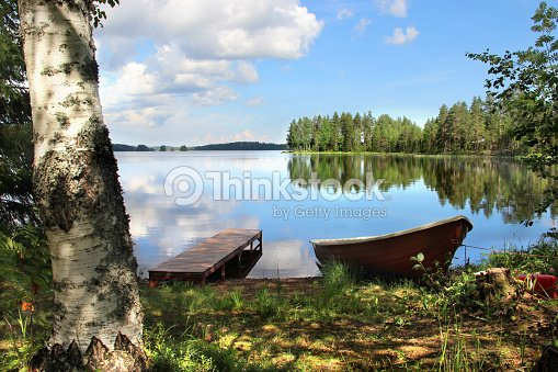 Relaxation and fishing in Finland : Foto de stock
