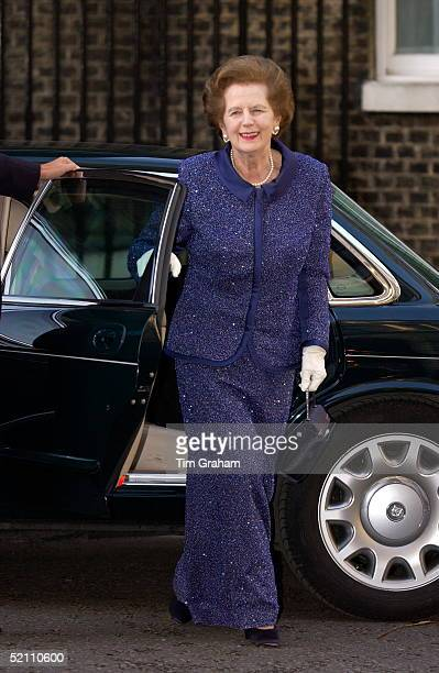 Relaxed And Smiling Former Prime Minister Baroness Margaret Thatcher Arriving At Number 10 Downing Street For The Queen's Golden Jubilee Dinner...