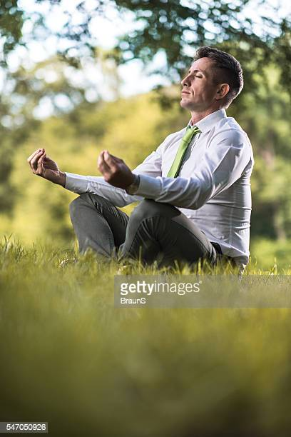 Relaxed businessman doing Yoga relaxation exercises in grass.