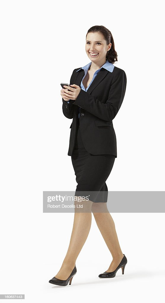 Relaxed happy business woman on smart phone : Stock Photo
