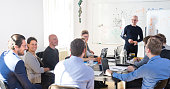Relaxed informal IT business startup company meeting. Team leader discussing and brainstorming new approaches and ideas with colleagues. Startup business and entrepreneurship concept.