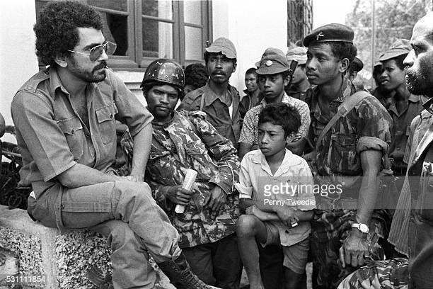 A relaxed Jose RamosHorta age 25 talks to and encourages Fretilin freedom fighters at Bobanaro in western East Timor as they are encountering the...