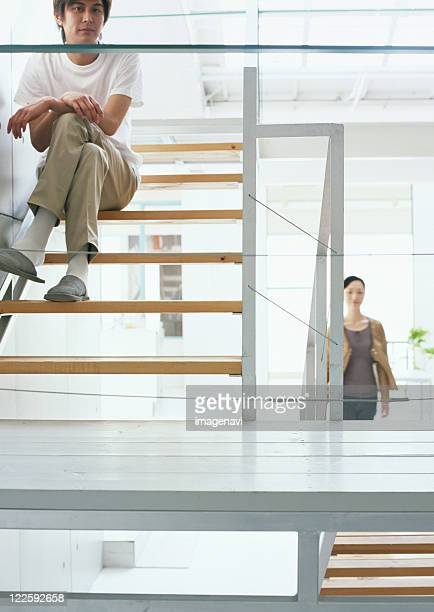 Relaxed man on stairs