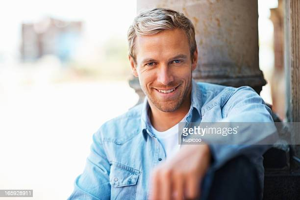 Relaxed man smiling
