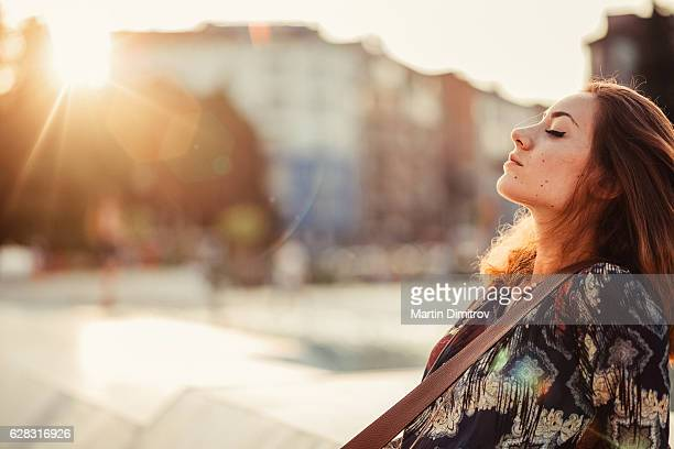 Relaxed woman outside