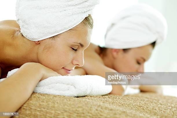 Relaxing after sauna