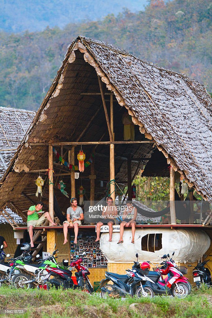 Relaxing at a hostel in Pai. : Stock Photo