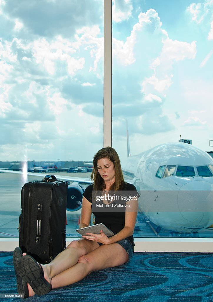 Relaxing at airport : Stock Photo