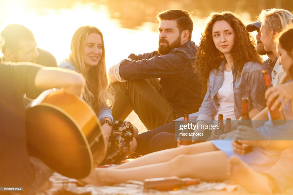 Relaxing at beach : Stock Photo