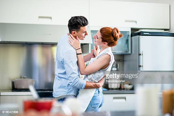 Relaxing flirting on the kitchen