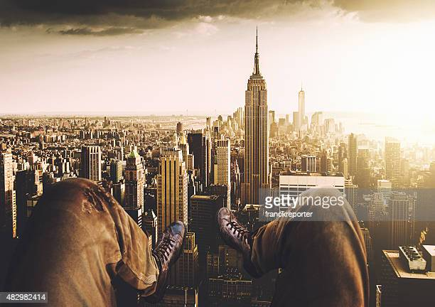 Relaxing in New York City from the helicopter