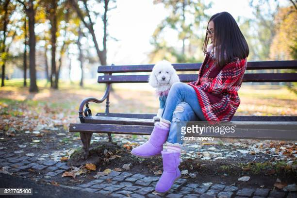 Relaxing on bench in park