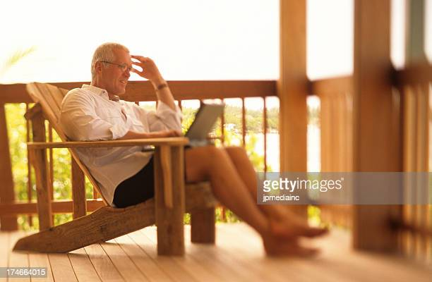 Relaxing retired senior business man