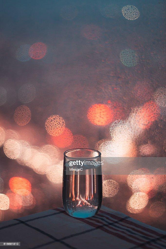 Relaxing Soda Water in Rainy Night : Stock Photo