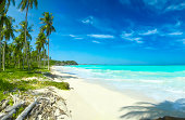 Relaxing tropical Caribbean white sand turquoise island beach pa