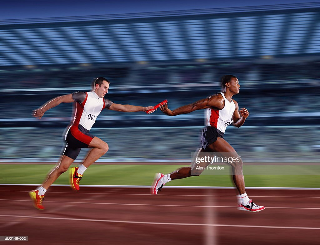 Relay race baton galleryhip com the hippest galleries - Relay Race Male Athletes Passing Relay Baton Digital Composite