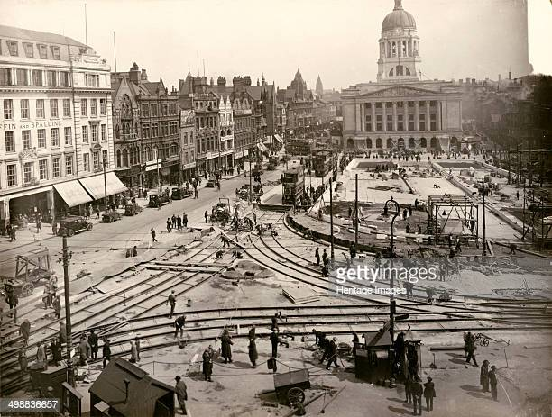 Relaying of tram track in the Old Market Square Nottingham Nottinghamshire 1929 View looking east during the relaying of the tramlines which were...