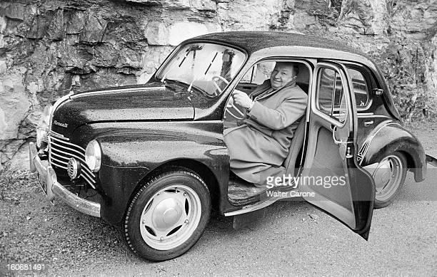 Release Of Joseph Joanovici Mende mars 1952 après sa libération portrait de Joseph JOANOVICI au volant d'une voiture RENAULT 4CV à l'arrêt