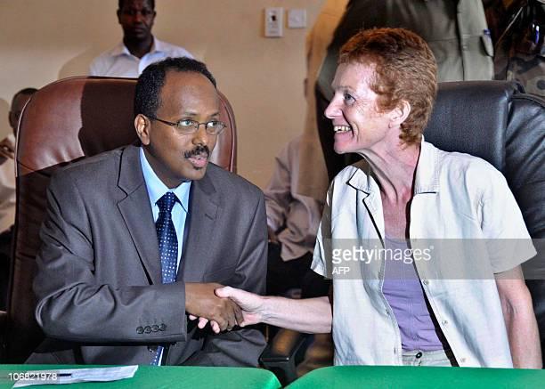 Released British hostage Rachel Chandler shakes hands with newlyappointed Somali Prime Minister Mohamed Abdullahi Mohamed on November 14 2010 in...