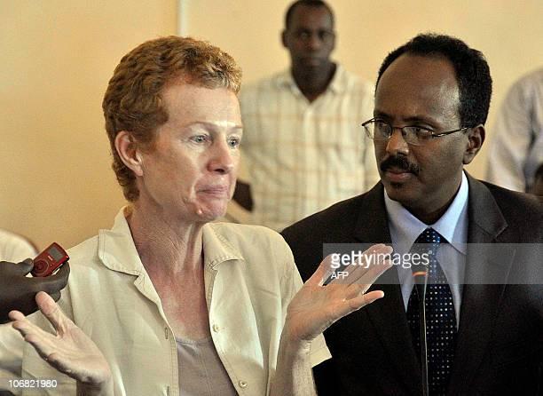 Released British hostage Rachel Chandler speaks next to newlyappointed Somali Prime Minister Mohamed Abdullahi Mohamed on November 14 2010 in...