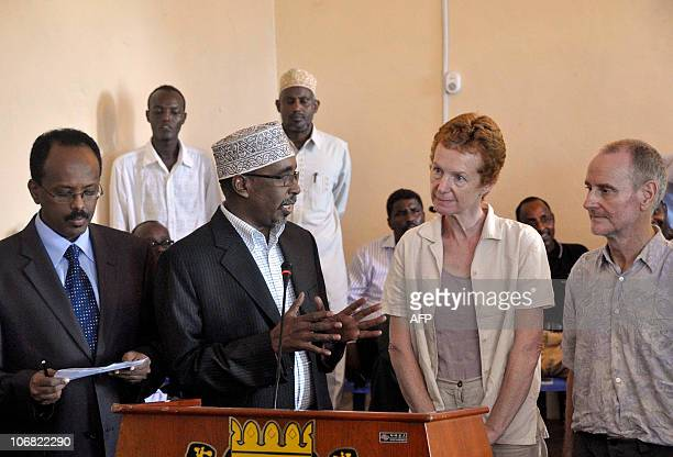 Released British hostages Rachel and Paul Chandler give a press conference with Somali President Sharif Sheikh Ahmed and newlyappointed Somali Prime...