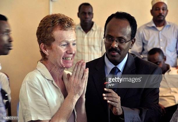 Released British hostages Rachel Chandler speks next to newlyappointed Somali Prime Minister Mohamed Abdullahi Mohamed on November 14 2010 in...