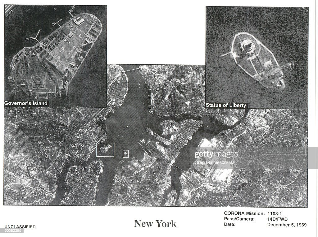 NRO released this declassified photo from one of its earlier recommaissance operations during the 1960's. This is Satellite imagery from one of the first US spy satelites named CORONA which was in operation from 1960-1972. This satellite photos shows New York City
