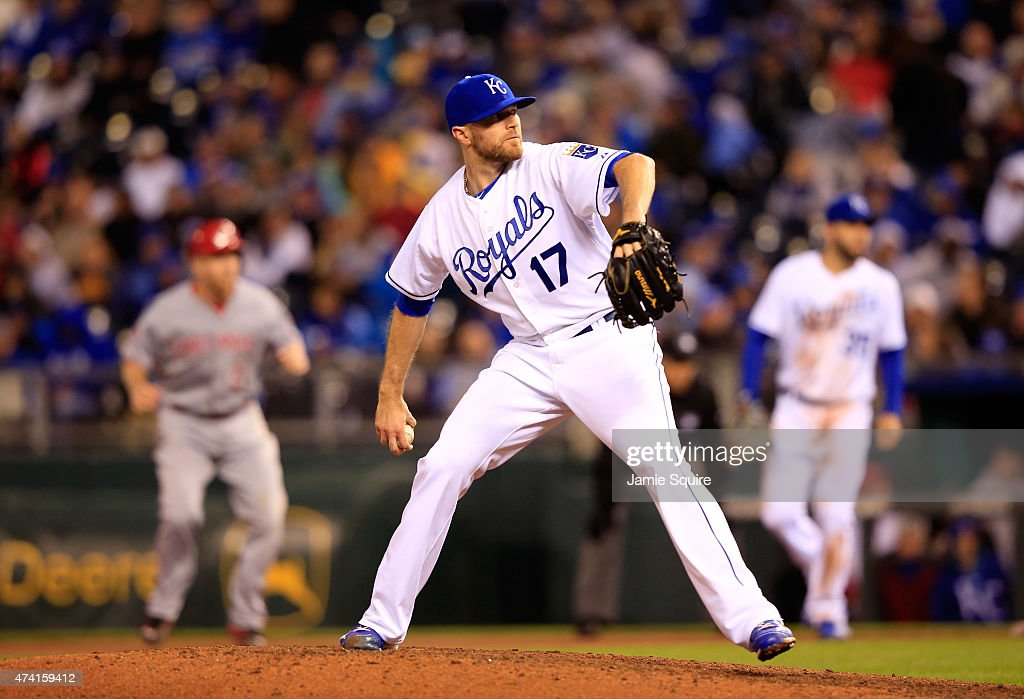 Releiver <a gi-track='captionPersonalityLinkClicked' href=/galleries/search?phrase=Wade+Davis+-+Baseball+Player&family=editorial&specificpeople=8202494 ng-click='$event.stopPropagation()'>Wade Davis</a> #17 of the Kansas City Royals pitches during the 8th inning of the game against the Cincinnati Reds at Kauffman Stadium on May 20, 2015 in Kansas City, Missouri.