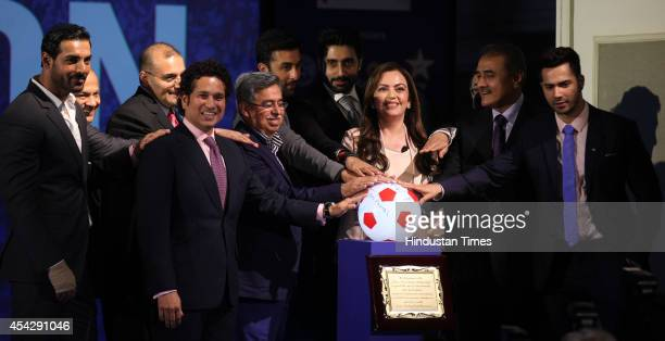 Reliance Foundation Chairman Nita Ambani and All India Football Federation President Praful Patel along with coowners of eight franchises from around...