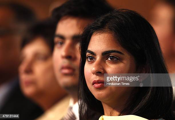 Reliance Industries Chairman Mukesh Ambani's son Akash Ambani and daughter Isha Ambani attend the launch of Digital India Week by Prime Minister...