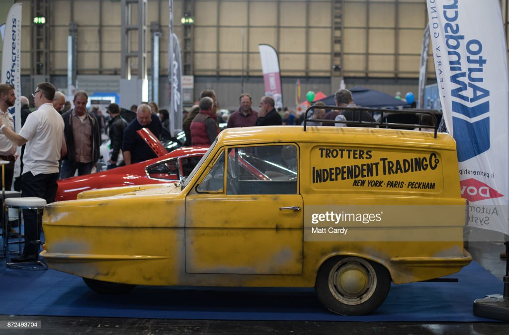 A Reliant Robin van is displayed on the first day of the Lancaster Classic Motor Show are polished at the NEC Birmingham on November 10, 2017 in Birmingham, England. According to a recent survey by the Federation of British Historic Vehicles Clubs, the historic vehicle industry currently generates revenues in excess of £5.5 billion per year for the UK economy, and while current government policy is to promote self-driving and low carbon cars, according to Transport Minister Chris Grayling his party is also committed to supporting owners of classic cars, and those that want to continue to use them on the road in the future.