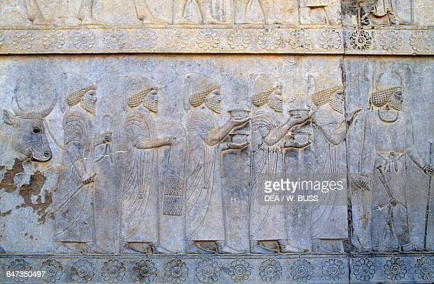 Relief depicting a procession detail east staircase of the Apadana Palace in Persepolis Iran Achaemenid civilisation 6th5th century BC