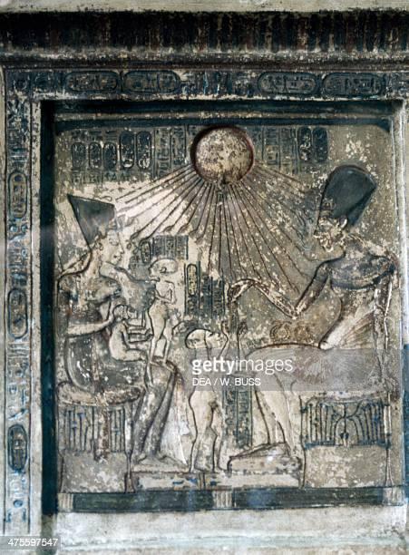 Relief depicting Akhenaton with his wife Nefertiti and their children Egyptian civilisation New Kingdom Dynasty XVIII Cairo Egyptian Museum