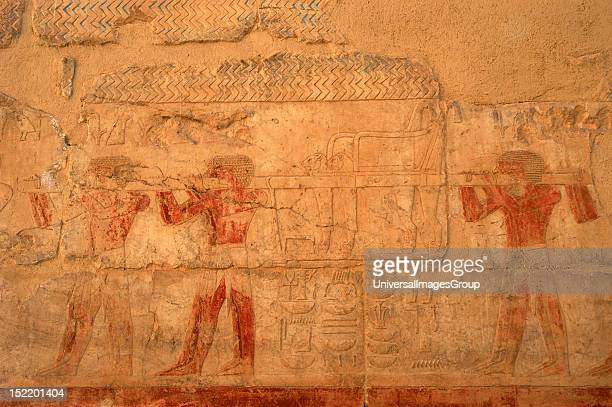 ART Relief depicting servants carrying a throne Temple of Hatshepsut Queen of the Eighteenth Dynasty New Kingdom Deir El Bahari Luxor Ancient Thebes...