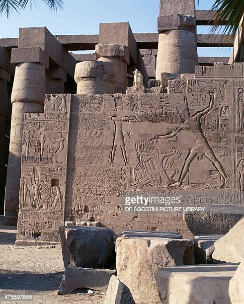 Relief depicting the military campaigns of Seti I in Syria and Palestine northern walls of the great hypostyle hall Karnak Temple Complex Egyptian...