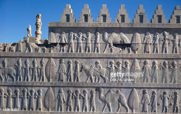 Relief depicting the peoples submission to the king from the Apadana in Persepolis UNESCO World Heritage List Iran Sassanid civilisation 5th Century...
