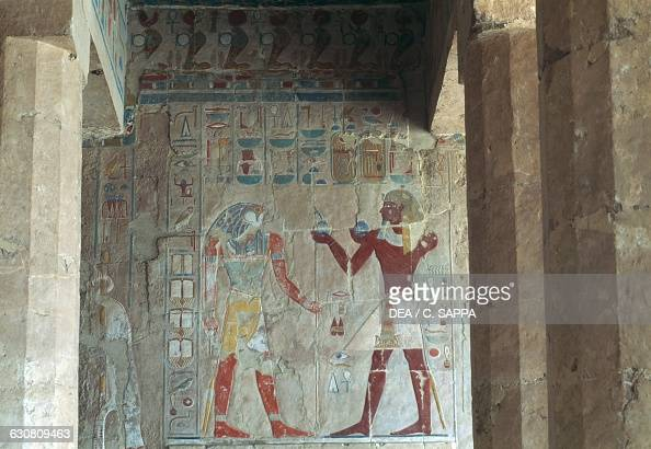 Relief depicting Tuthmose III offering wine to Sokaris Mortuary Temple of Hatshepsut Deir elBahari Theban Necropolis Luxor Egypt Egyptian...