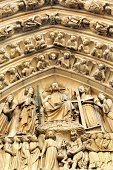 Relief figures on entrance of Notre Dame Cathedral, Paris
