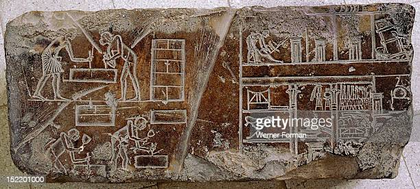 A relief fragment with a representation of stonemasons and other craftsmen at work and a cross section of a house Egypt Ancient Egyptian 18th dynasty...