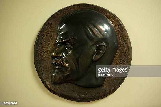 A relief image of the face of Vladimir Ilyich Lenin Russian communist revolutionary politician and political theorist is displayed at the Stasi or...