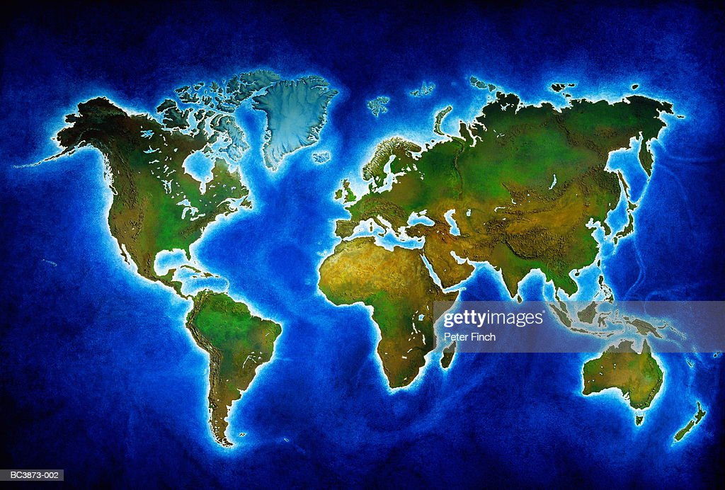 Relief map of the world : Stock Photo